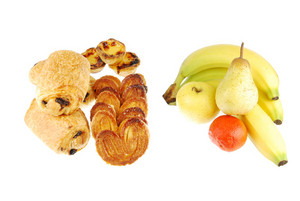 Healthy Vs Unhealthy (baked Goods And Fruits On White)