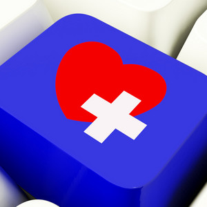 Heart And Cross Computer Key In Blue Showing Emergency Assistance
