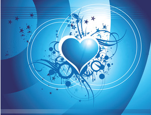 Heart And Shining Stars With Gradient Blue Background