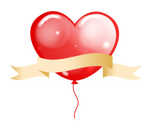 Heart Balloon With Ribbon Banner