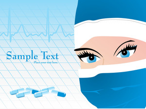 Heart Beat Background With Surgeon Face