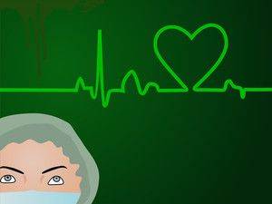 Heart Beat  On Green Background With Nurse.