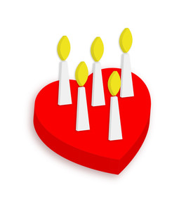 Heart Cake With Candles