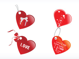 Heart Design Tags With Ribbon In Red And Brown