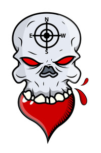 Heart Eating Skull - Vector Cartoon Illustration