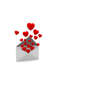 Heart Floating From An Envelope