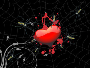 Heart In Spider Web 3d Render
