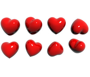 Heart In Various Poses 3d Render