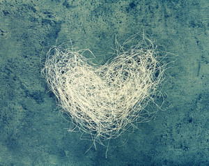 Heart of loofah on concrete background