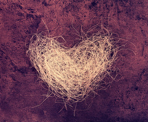 Heart of loofah on marsala grunge background