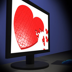 Heart On Monitor Showing Romantic Emotions
