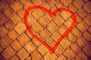 Heart painted on a stone wall