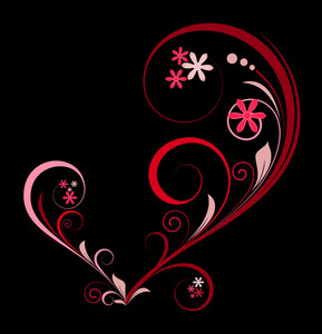 Heart Shape Floral Design Elements
