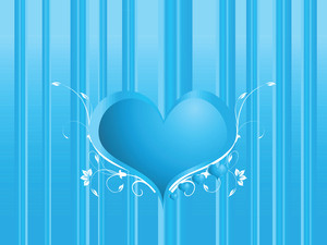 Heart Shape Frame For Text With Floral Elements On Blue Texture