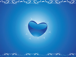 Heart Shape With Tribal Art Border With Stars In Blue