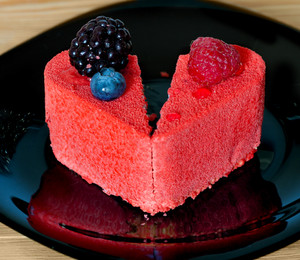 Heart shaped cake split in half