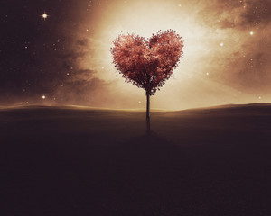 Heart shaped tree before space background