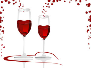 Heart Shaped Wine Glasses Filled With Love Wine.