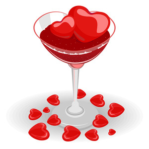 Heart Wine Glasses Fill With Wine And Heart Ice Cube