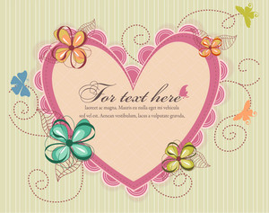 Heart With Floral Vector Illustration