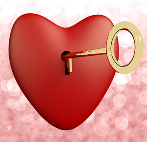 Heart With Key And Pink Bokeh Background Showing Love Romance And Valentines