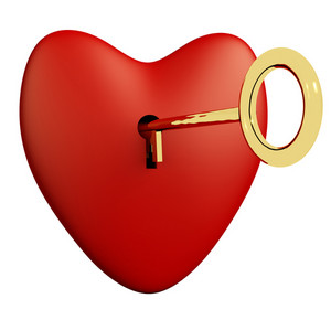 Heart With Key And White Background Showing Love Romance And Valentines