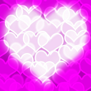 Heart With Mauve Bokeh Background Showing Love Romance And Valentines