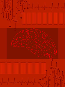 Heartbeat Background With Human Brain