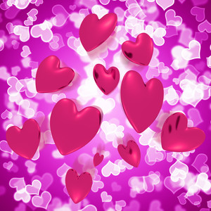 Hearts Falling With Mauve Bokeh Background Showing Love And Romance