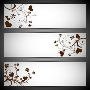 Hearts Floral On Grey Background