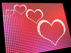 Hearts On Computer Display Showing Love And Online Dating