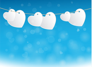 Hearts On Wire - Vector Background