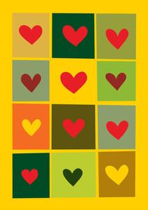 Hearts On Yellow Background