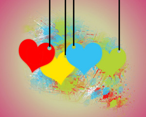 Hearts Tags Background