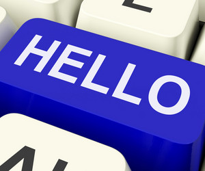 Hello Key Shows Online Greeting Or Welcome