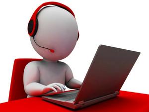 Helpdesk Hotline Operator Showing Support