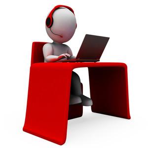 Helpdesk Hotline Operator Shows Support