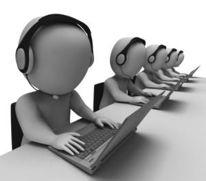 Helpdesk Hotline Operators Show Call Center