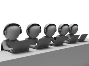 Helpdesk Hotline Operators Showing Call Center