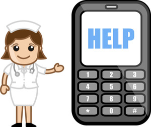 Helpline Phone Number - Medical Cartoon Vector Character