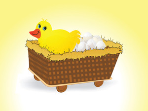 Hen In The Cart With Eggs
