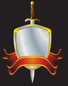 Heraldic Shield, Sword And Banner. Vector Illustration.