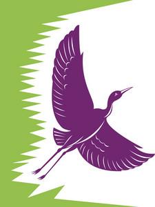 Heron Crane Flying Retro