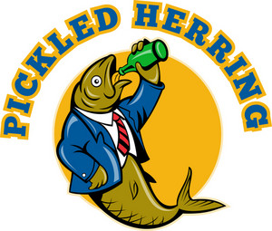 Herring Fish Business Suit Drinking Beer Bottle
