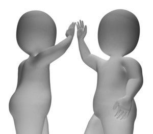 High Five 3d Characters Show Friendship And Greeting