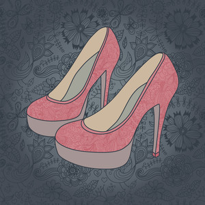High-heeled Vintage Shoes With Flowers Fabric. (texture Behind The Shoes Is Complete And Seamless). Design Elements On Seamless Retro Background