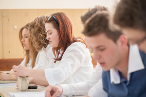 High school students learning in a classroom