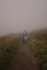Hiking in the rain. Bieszczady mountain landscape