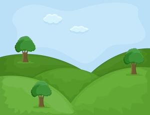Hill Area - Cartoon Background Vector