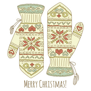 Hipster Christmas Card With Mittens